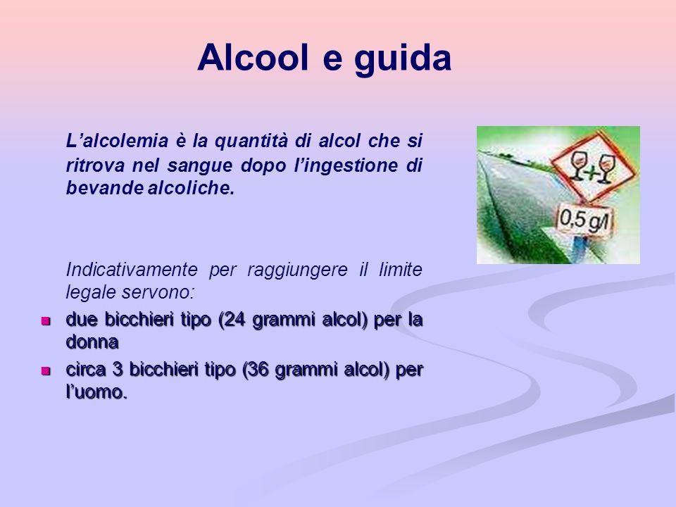 Alcool e guida L'alcolemia è la quantità di alcol che si ritrova nel sangue dopo l'ingestione di bevande alcoliche.