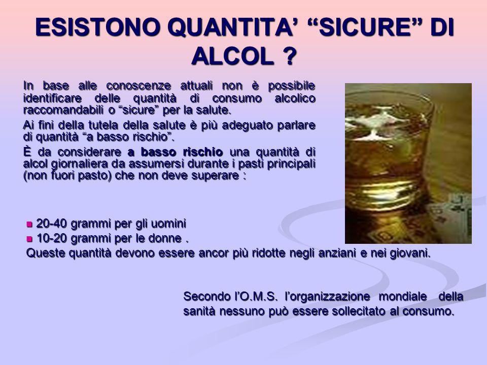 ESISTONO QUANTITA' SICURE DI ALCOL