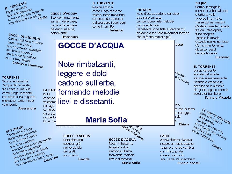 GOCCE D'ACQUA Note rimbalzanti, leggere e dolci. cadono sull'erba, formando melodie. lievi e dissetanti.