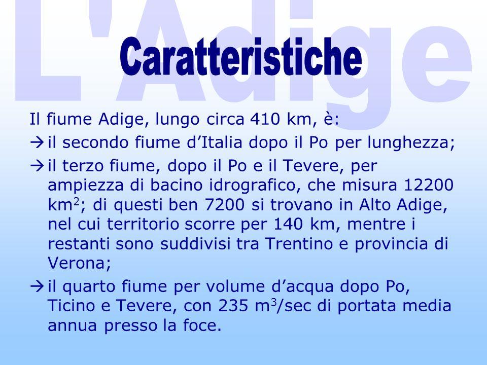 L Adige Caratteristiche Il fiume Adige, lungo circa 410 km, è: