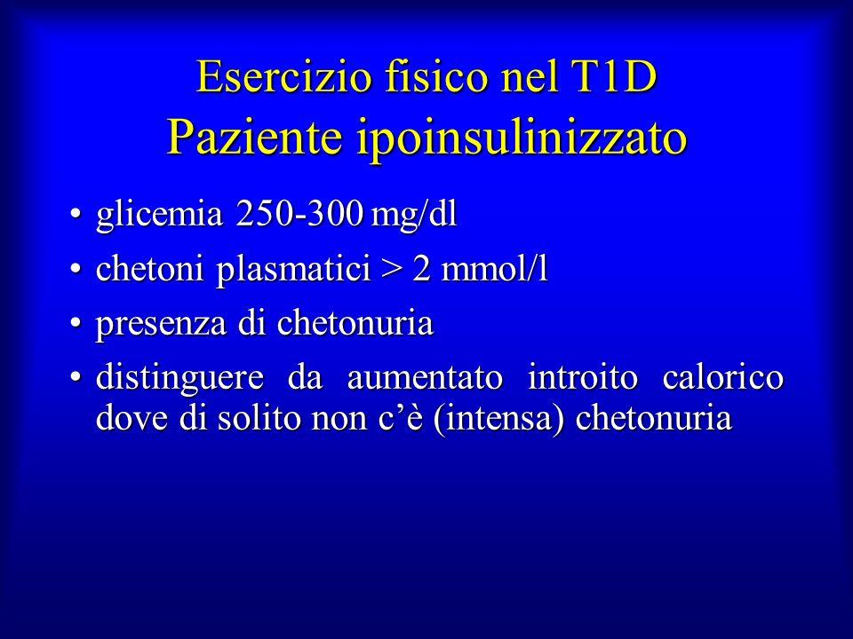 Esercizio fisico nel T1D Paziente ipoinsulinizzato