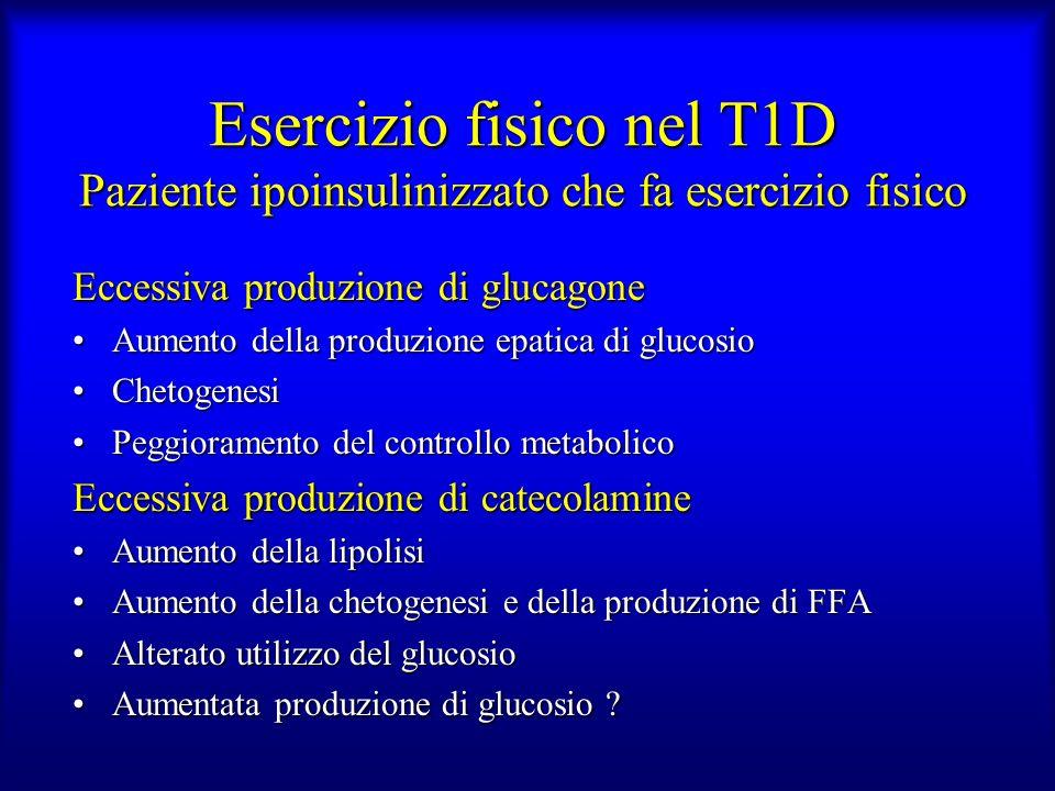 Esercizio fisico nel T1D Paziente ipoinsulinizzato che fa esercizio fisico