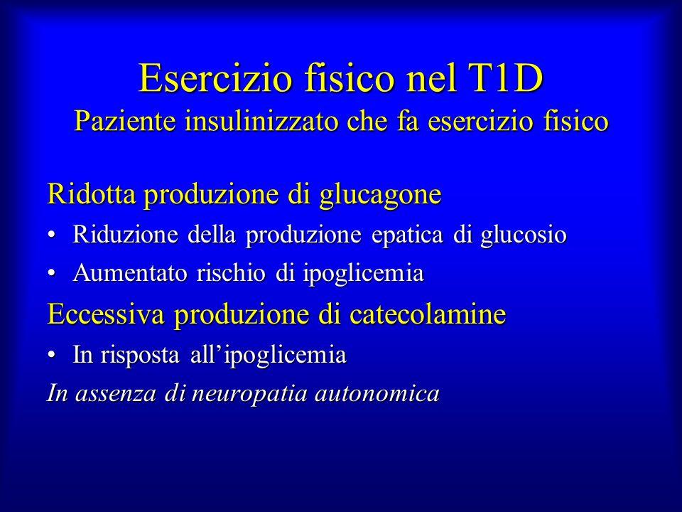 Esercizio fisico nel T1D Paziente insulinizzato che fa esercizio fisico