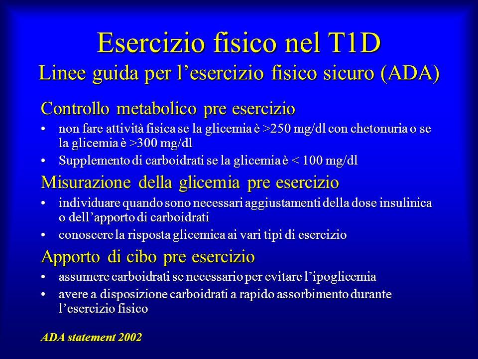 Esercizio fisico nel T1D Linee guida per l'esercizio fisico sicuro (ADA)