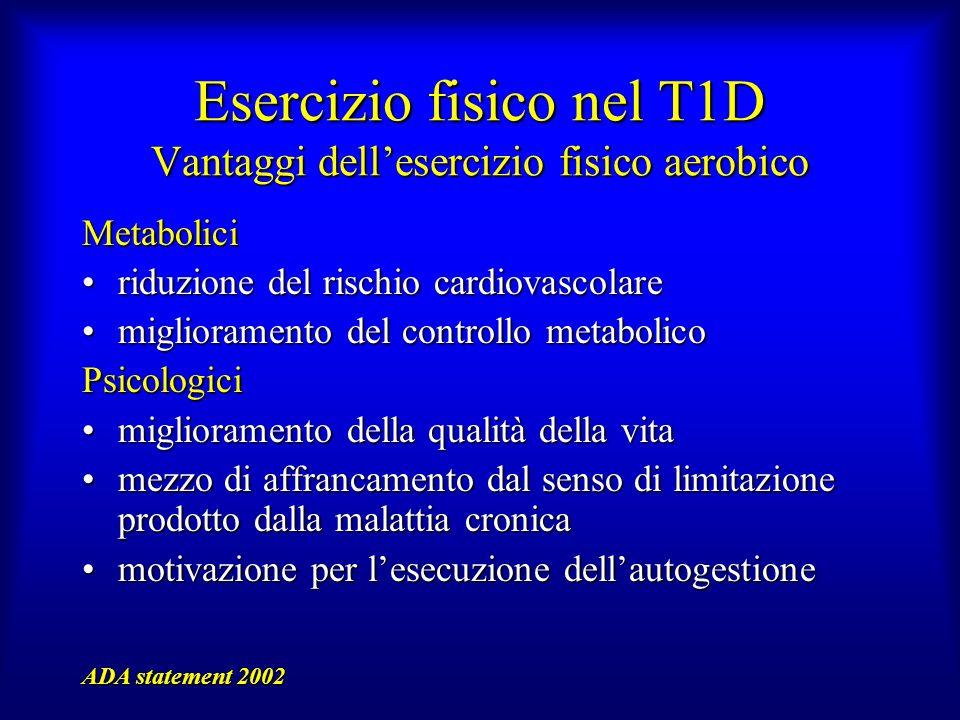 Esercizio fisico nel T1D Vantaggi dell'esercizio fisico aerobico