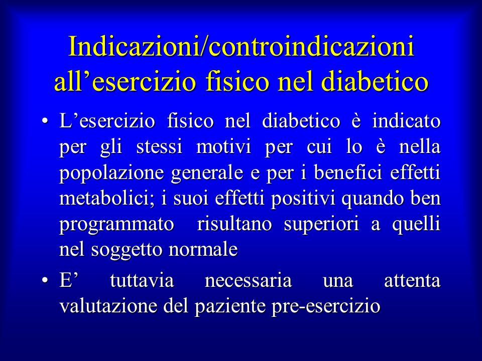 Indicazioni/controindicazioni all'esercizio fisico nel diabetico