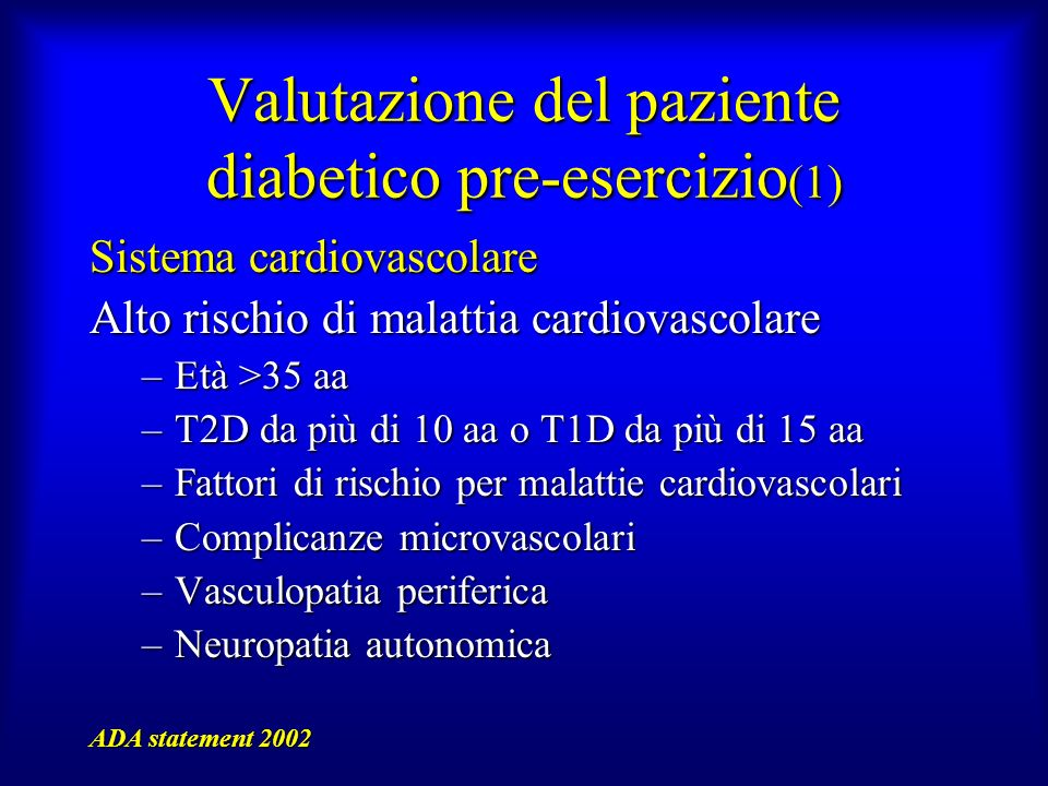 Valutazione del paziente diabetico pre-esercizio(1)