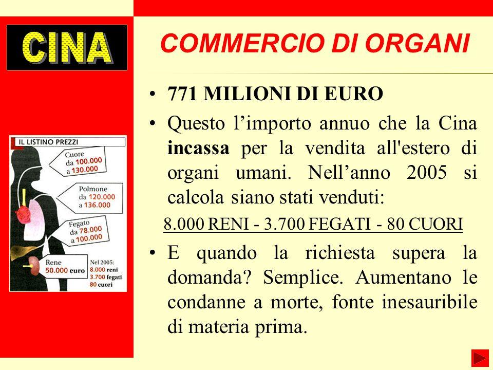 COMMERCIO DI ORGANI CINA 771 MILIONI DI EURO