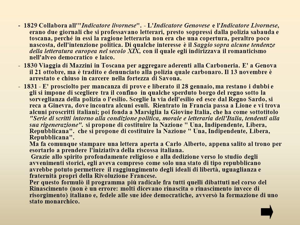 - 1829 Collabora all Indicatore livornese