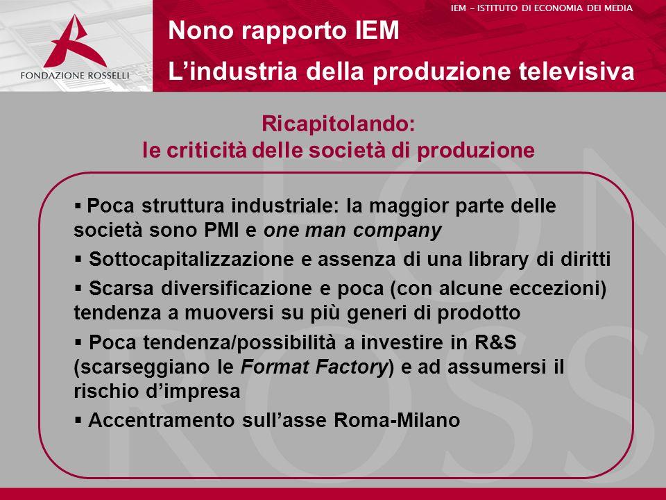 Ricapitolando: le criticità delle società di produzione