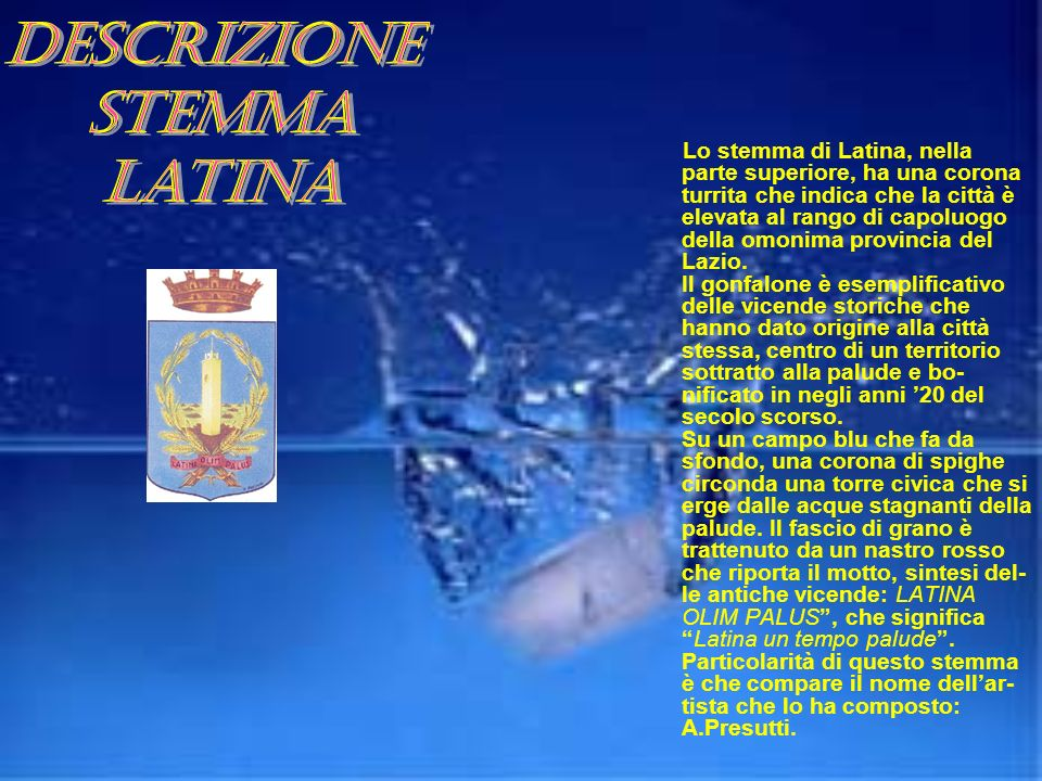 Descrizione stemma Latina