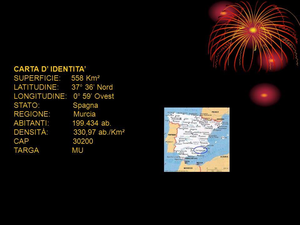 CARTA D' IDENTITA' SUPERFICIE: 558 Km². LATITUDINE: 37° 36' Nord. LONGITUDINE: 0° 59' Ovest.
