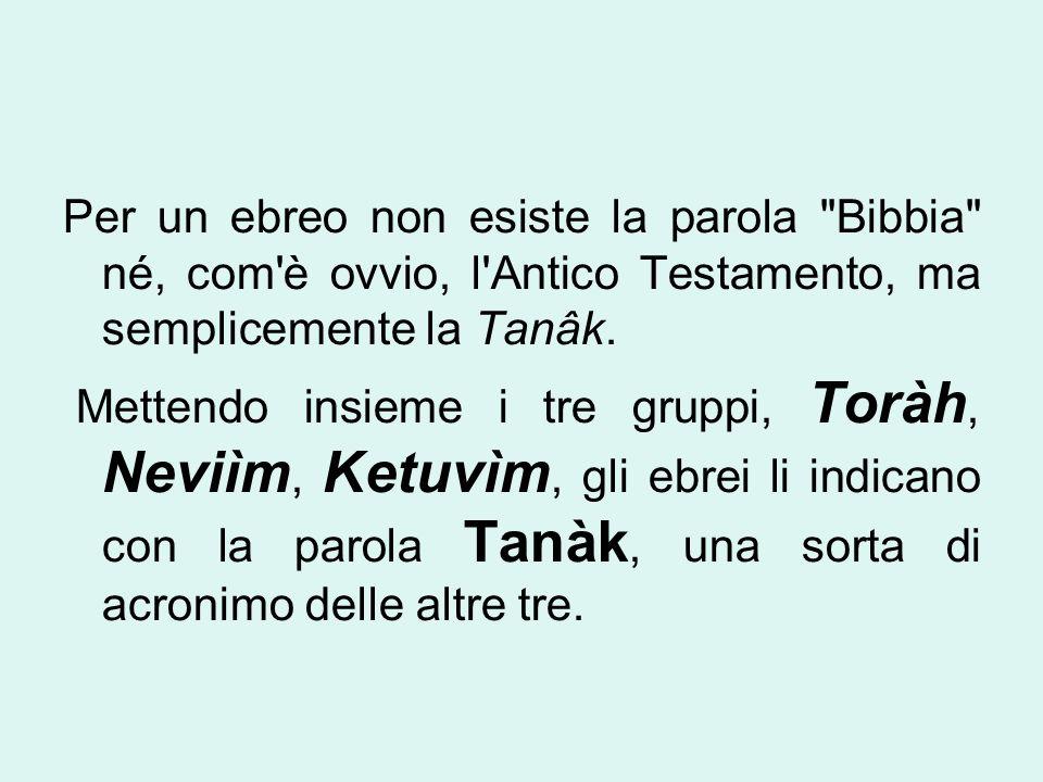 Per un ebreo non esiste la parola Bibbia né, com è ovvio, l Antico Testamento, ma semplicemente la Tanâk.