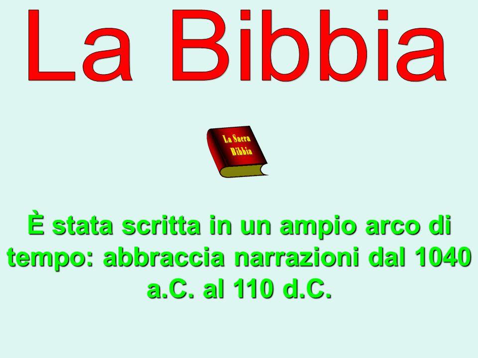 La Bibbia È stata scritta in un ampio arco di tempo: abbraccia narrazioni dal 1040 a.C. al 110 d.C.