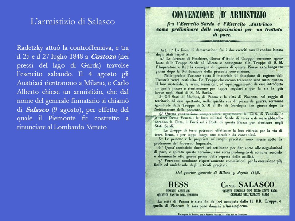 L'armistizio di Salasco