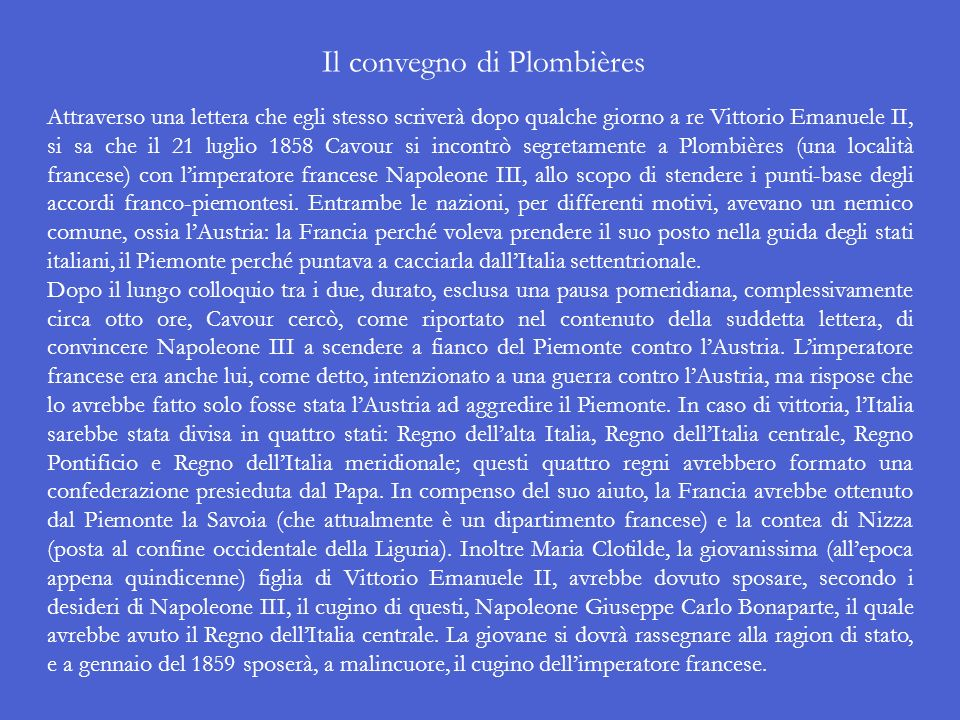 Il convegno di Plombières