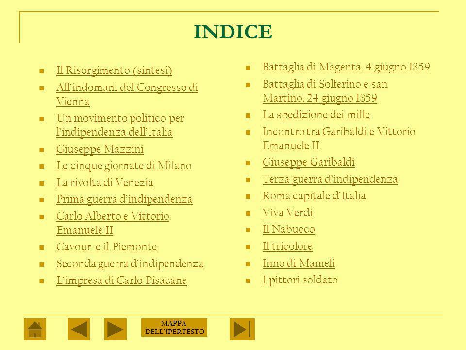 INDICE Battaglia di Magenta, 4 giugno 1859 Il Risorgimento (sintesi)