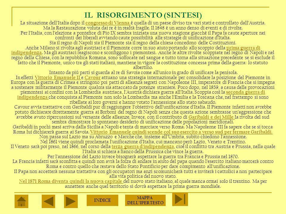 IL RISORGIMENTO (SINTESI)