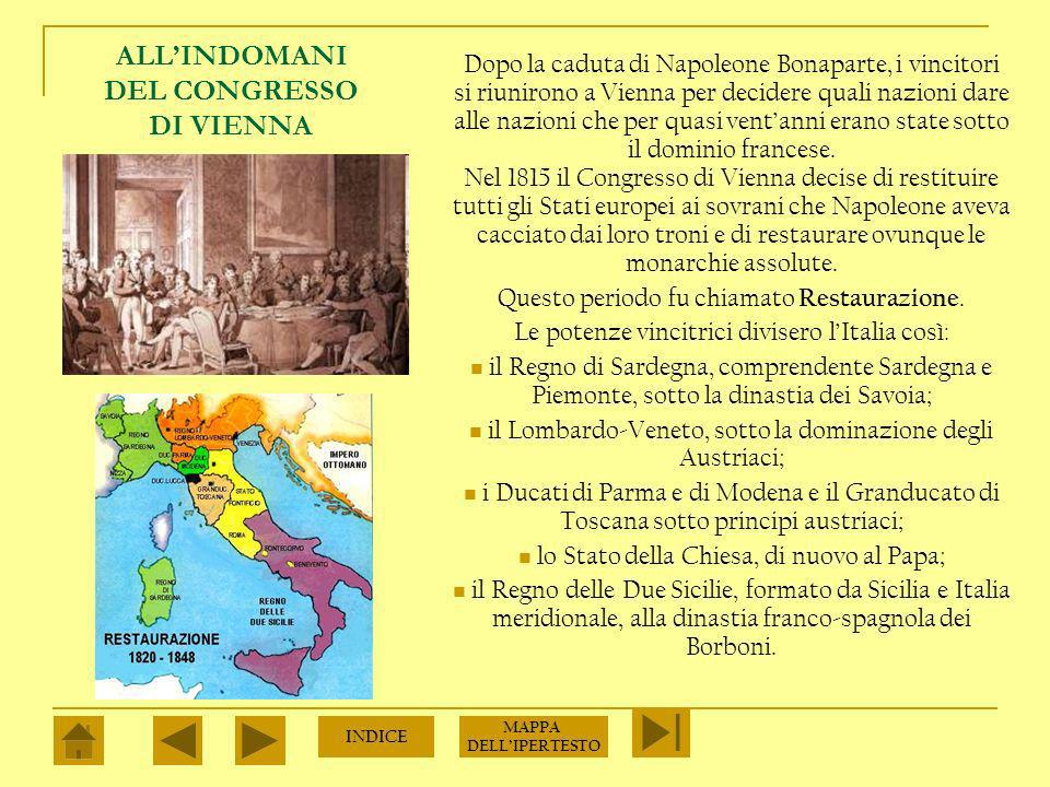 ALL'INDOMANI DEL CONGRESSO DI VIENNA
