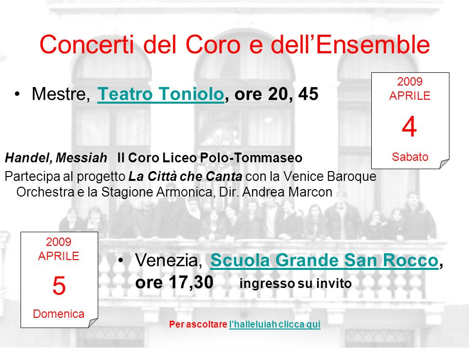 Concerti del Coro e dell'Ensemble