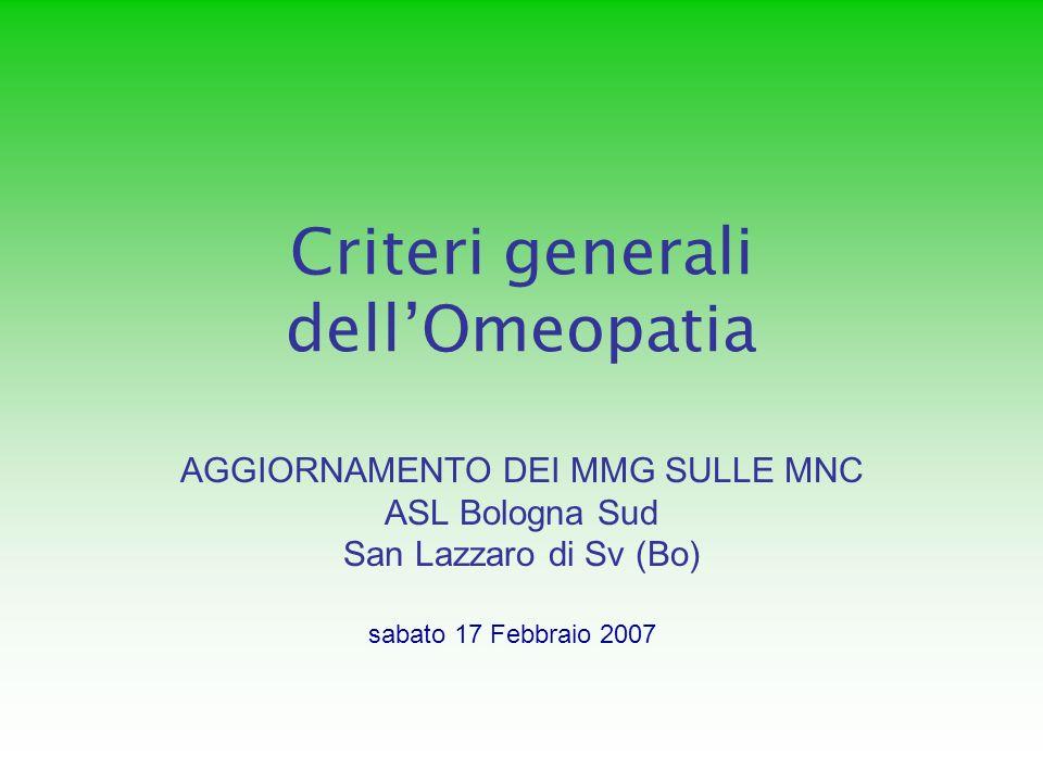 Criteri generali dell'Omeopatia