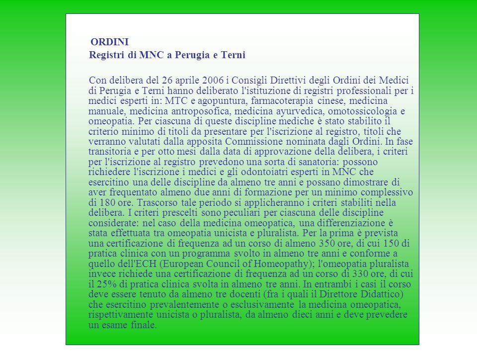 Registri di MNC a Perugia e Terni