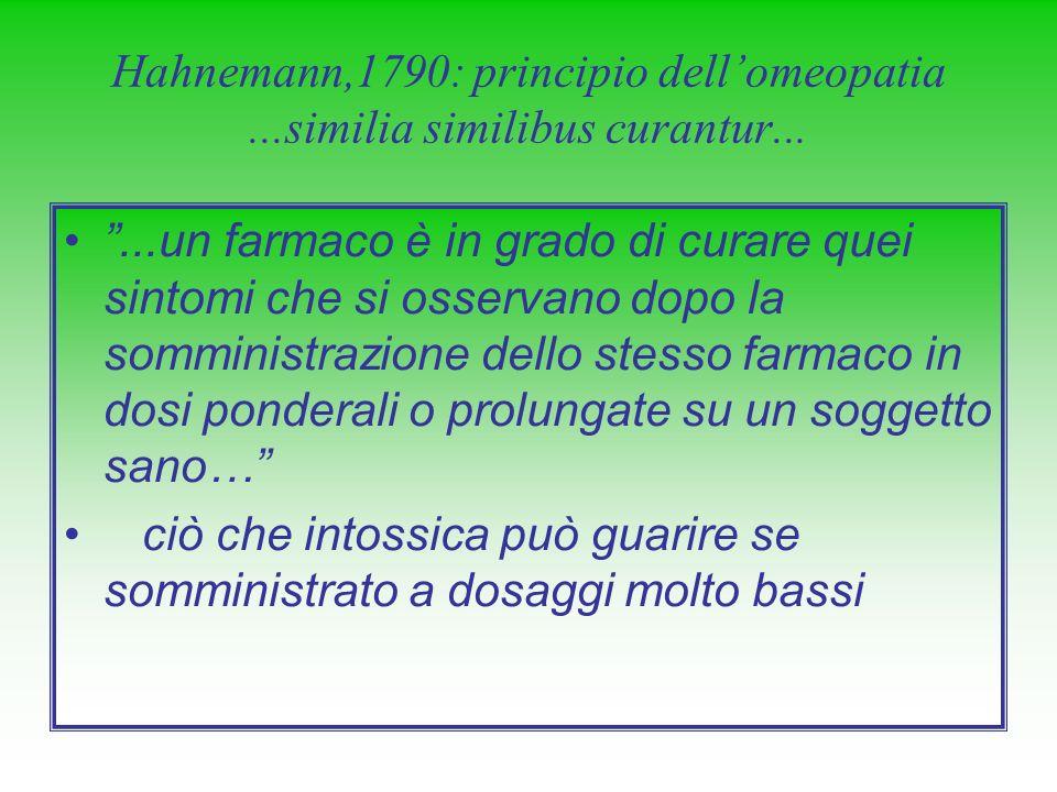 Hahnemann,1790: principio dell'omeopatia ...similia similibus curantur...