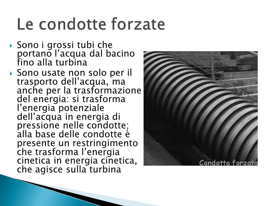 Le condotte forzate Sono i grossi tubi che portano l'acqua dal bacino fino alla turbina.