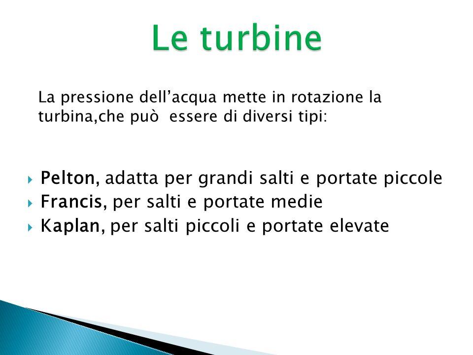Le turbine Pelton, adatta per grandi salti e portate piccole