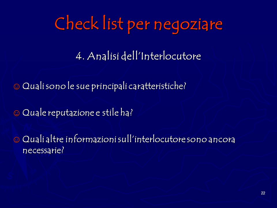 Check list per negoziare