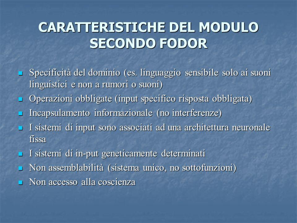 CARATTERISTICHE DEL MODULO SECONDO FODOR