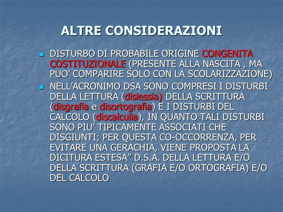 ALTRE CONSIDERAZIONI DISTURBO DI PROBABILE ORIGINE CONGENITA COSTITUZIONALE (PRESENTE ALLA NASCITA , MA PUO' COMPARIRE SOLO CON LA SCOLARIZZAZIONE)