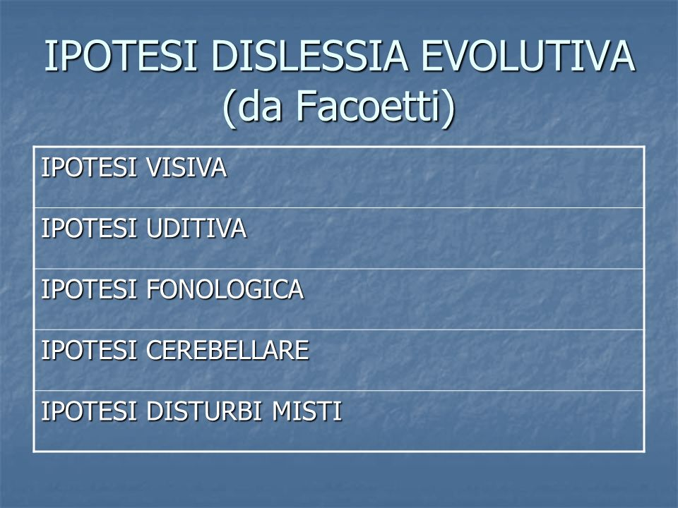 IPOTESI DISLESSIA EVOLUTIVA (da Facoetti)