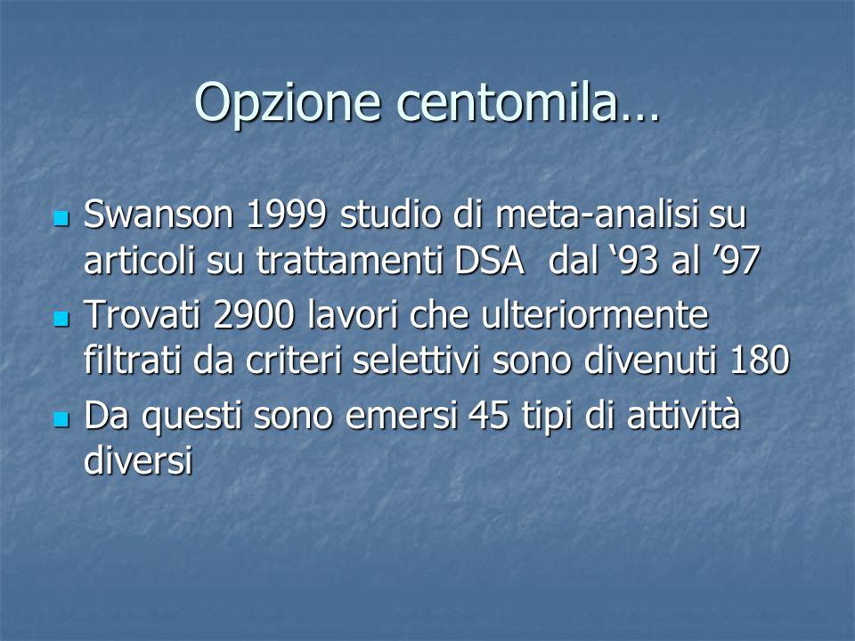 Opzione centomila… Swanson 1999 studio di meta-analisi su articoli su trattamenti DSA dal '93 al '97.