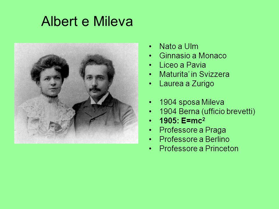 Albert e Mileva Nato a Ulm Ginnasio a Monaco Liceo a Pavia