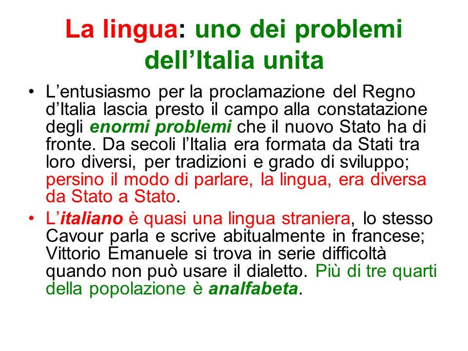 La lingua: uno dei problemi dell'Italia unita