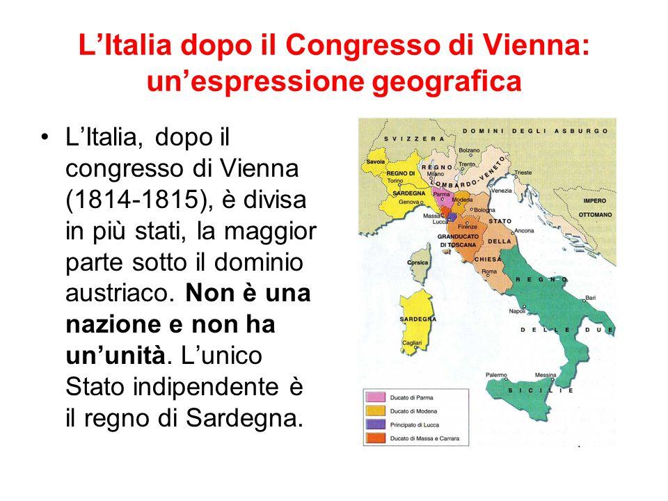 L'Italia dopo il Congresso di Vienna: un'espressione geografica