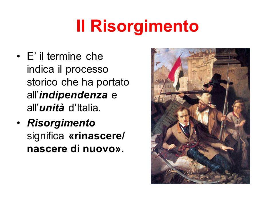 Il Risorgimento E' il termine che indica il processo storico che ha portato all'indipendenza e all'unità d'Italia.