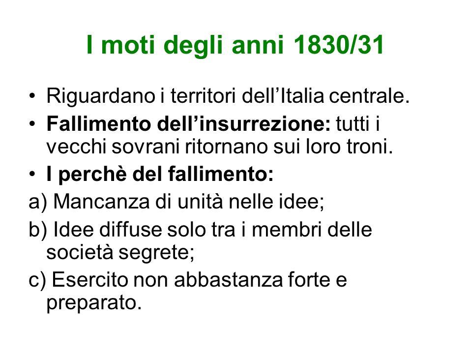 I moti degli anni 1830/31 Riguardano i territori dell'Italia centrale.