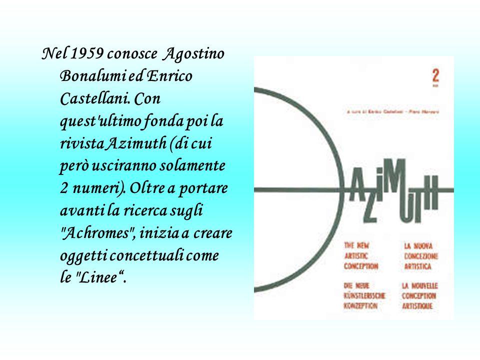 Nel 1959 conosce Agostino Bonalumi ed Enrico Castellani