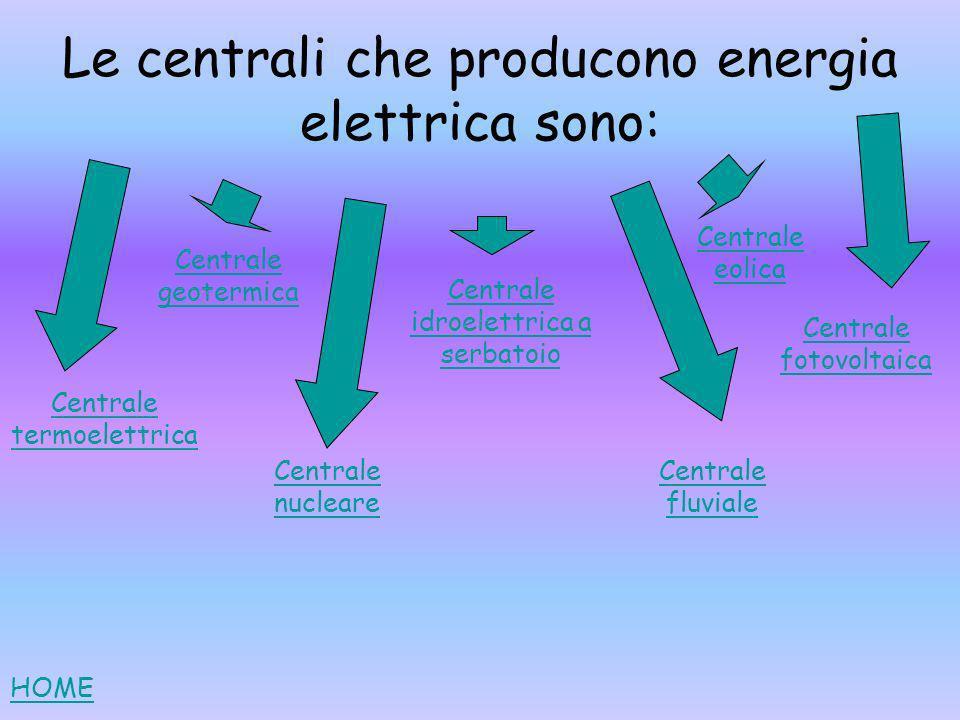 Le centrali che producono energia elettrica sono: