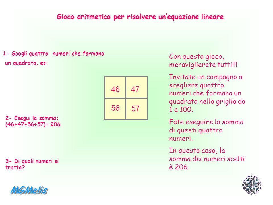 Gioco aritmetico per risolvere un'equazione lineare