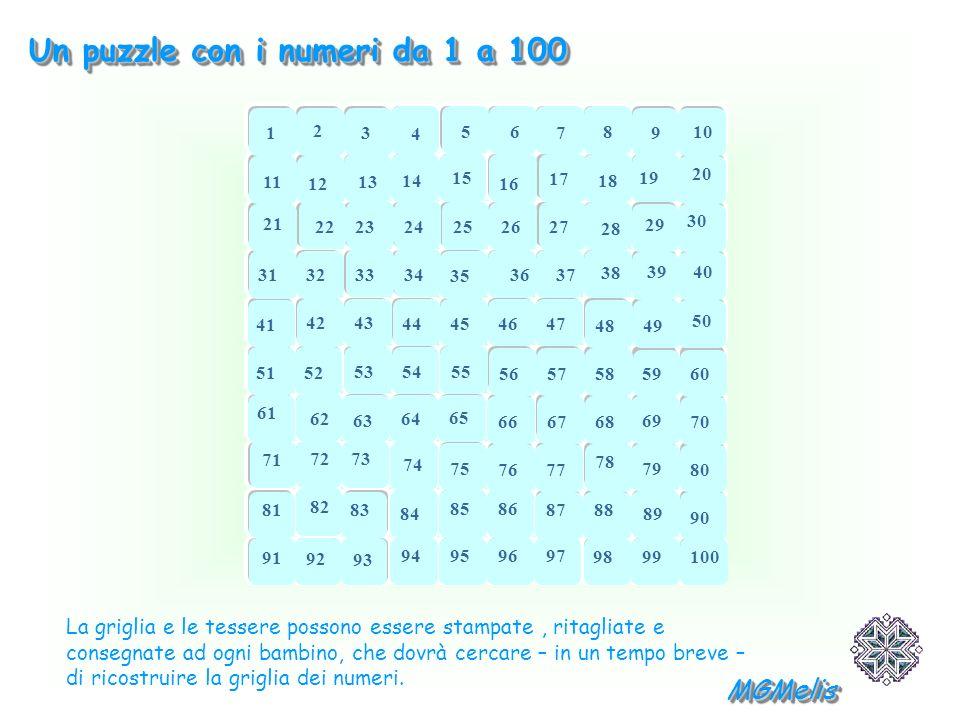 Un puzzle con i numeri da 1 a 100