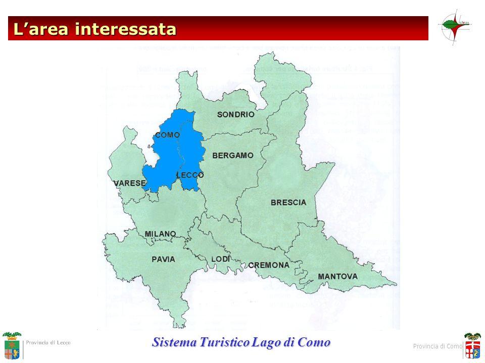 L'area interessata Sistema Turistico Lago di Como Provincia di Como