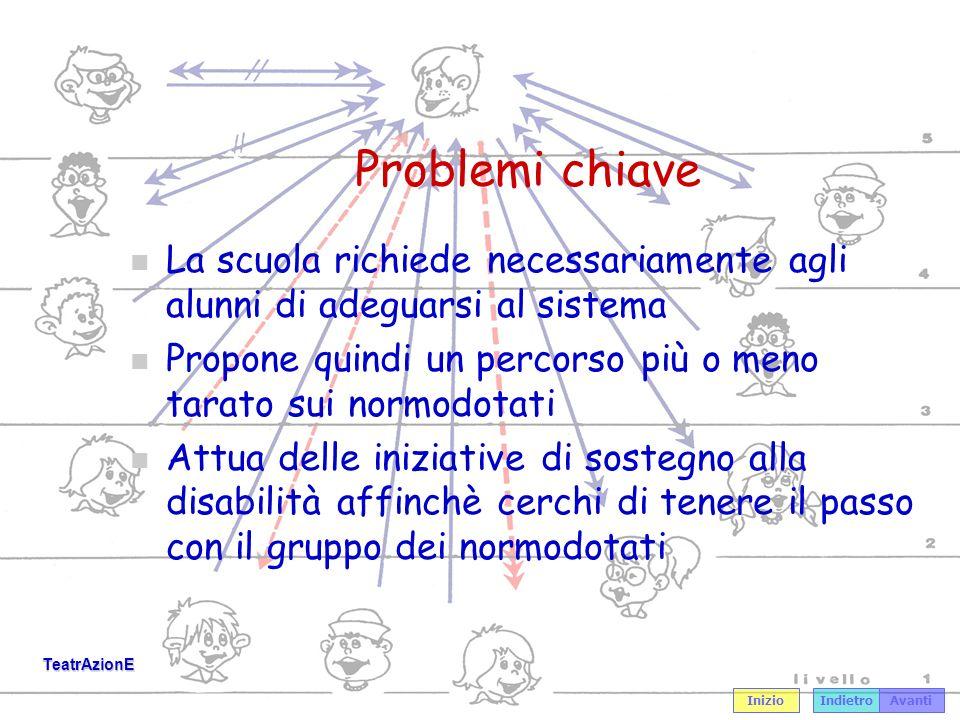 Problemi chiave La scuola richiede necessariamente agli alunni di adeguarsi al sistema. Propone quindi un percorso più o meno tarato sui normodotati.