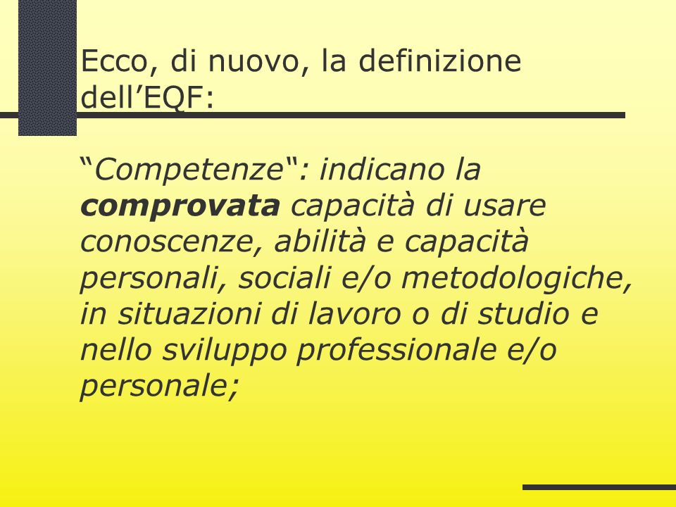 Ecco, di nuovo, la definizione dell'EQF: Competenze : indicano la comprovata capacità di usare conoscenze, abilità e capacità personali, sociali e/o metodologiche, in situazioni di lavoro o di studio e nello sviluppo professionale e/o personale;