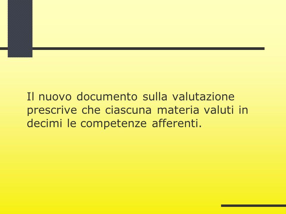 Il nuovo documento sulla valutazione prescrive che ciascuna materia valuti in decimi le competenze afferenti.