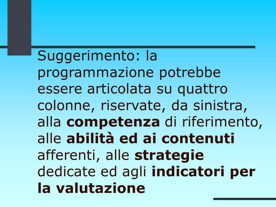Suggerimento: la programmazione potrebbe essere articolata su quattro colonne, riservate, da sinistra, alla competenza di riferimento, alle abilità ed ai contenuti afferenti, alle strategie dedicate ed agli indicatori per la valutazione