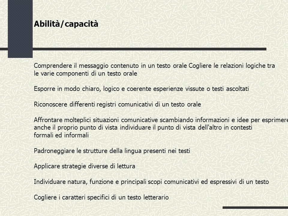 Abilità/capacità Comprendere il messaggio contenuto in un testo orale Cogliere le relazioni logiche tra.