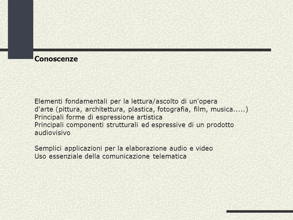 Conoscenze Elementi fondamentali per la lettura/ascolto di un opera d arte (pittura, architettura, plastica, fotografia, film, musica.....) Principali forme di espressione artistica Principali componenti strutturali ed espressive di un prodotto audiovisivo Semplici applicazioni per la elaborazione audio e video Uso essenziale della comunicazione telematica